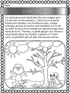 French resources for your French Immersion, Core French or Francophone class. French Teaching Resources, Teaching French, Language Activities, Reading Activities, Educational Activities, French Worksheets, French Colors, French Education, French Grammar