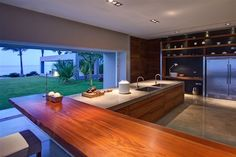 Designed by Elías Rizo Arquitectos , Casa La Punta is located in Punta Mita, Nayarit, Mexico. Surrounded by a landscape design that is both intricate and Large Kitchen Design, Modern Large Kitchens, Small Kitchen Layouts, Large Kitchen Island, Home Interior, Kitchen Interior, Kitchen Decor, Design Blog, Home Kitchens