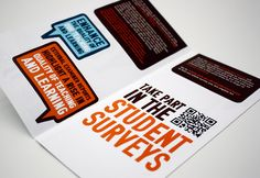 "Leaflet design as part of the ""2012 Help Us Help You"" campaign to promote the student surveys at University Campus Sufoflk"
