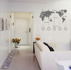 Removable Vinyl World Map Wall Decal Time Wall by CustomWallDecal