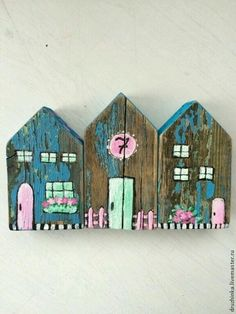 Wood Block Crafts, Wooden Crafts, House Painting, Painting On Wood, Small Wood Projects, Projects To Try, Home Crafts, Diy And Crafts, Ceramic Houses