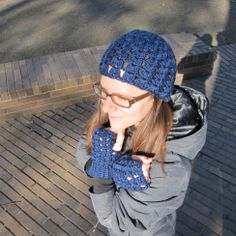 Get the free pattern for this hat and fingerless gloves set!