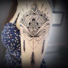 By @bastarzt_tattoo on Instagram - shoulder tattoo - womens tattoo - mandala tattoo - ornamental tattoo - dreamcatcher tattoo