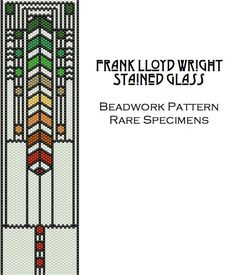 This is an instant download PDF file of a peyote stitch pattern for a cuff bracelet or bookmark. The design is based on a stained glass window by Frank Lloyd Wright.  NOTE: This is a pattern only, not a tutorial. Knowledge of flat odd count peyote stitch is required.  The pattern uses 6 colors of Delica cylinder beads. The finished measurements are approx. 2 inches wide by 7 inches long.  Please do not sell or give away this pattern, but feel free to sell finished pieces you make using the…