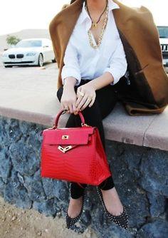 Red Birkin Bag by Hermes Hermes Birkin, Hermes Kelly Bag, Hermes Bags, Birkin Bags, Look Fashion, Winter Fashion, Womens Fashion, Fashion Trends, Red Fashion