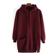 SheIn(sheinside) Burgundy Drawstring Hooded Split Loose Sweatshirt (276.150 IDR) ❤ liked on Polyvore featuring tops, hoodies, sweatshirts, red, red hoodie, pullover hoodie sweatshirt, red top, hooded sweatshirt and pullover hoodies