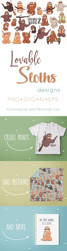 Lovable Sloths 2 includes 20 designs, perfect for prints, giftware and patterns! #ad #design #sloth #pattern #photoshop #coreldraw #adobeillustrator #graphicdesign #logodesign #cricutmade #cricutexplore #cameo