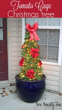I ve been trying to figure out how to decorate the massive planter on our front porch for Christmas for a while now.  We can t move the planter because it weighs a ton on its own and we filled it with rocks and dirt so it s at least 300 pounds.  So I had to come up with a way to use it in our outside Christmas decor.  Enter the tomato cage Christmas tree.