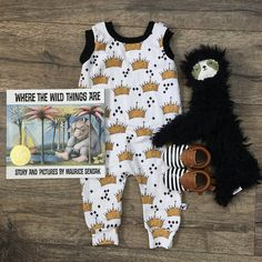Where the Wild Things Are Crown Pattern Romper/Dress/Hoodie, Romper Flat Lay. #wildone first birthday boy, boys first birthday party, party outfit, Wild one party outfit