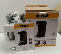 BELLA 13930 One Scoop One Cup Coffee Maker Black Mug Filter Included New in Box #Bella