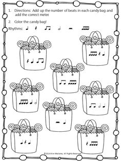 FREE download!!! Students add the correct meter/time signature and then color (colour) the candy bag. Two versions: 1 North American terminology and 2. British.