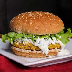 Lemon Chickpea Quinoa Burgers with Lemon Greek Yogurt Sauce and Feta - a protein-packed veggie burger!