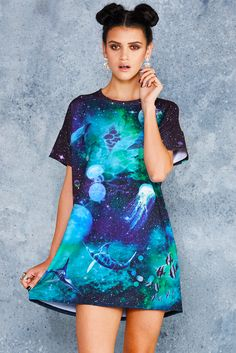 Galactic Ocean Slouched Tee Dress - 48HR ($80AUD) by BlackMilk Clothing