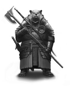 The far North is inhospitable by most standards. Legends of Guardians running with large packs of animals are largely thought to be fantasy. One particular story tells of a Guardian Bear who rides through the tundra on a giant wurm. Fantasy Races, Fantasy Warrior, Fantasy Rpg, Dnd Characters, Fantasy Characters, Fantasy Inspiration, Character Inspiration, Thundercats, Character Concept