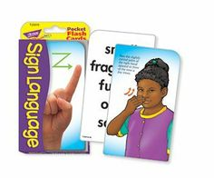 """Pocket Flash Cards Sign Language by Trend Educational Products. $5.22. 56-PK 3X5 TWO-SIDED CARDS. * Children demonstrate basic signs on 26 illustrated cards, plus the photographic manual alphabet on 26 cards. Includes 4 information/activity cards. Ideal for home, school, or travel. 56 two-sided cards per set, with quick-sorting rounded corners. Handy 3 1/8"""" x 5 1/4"""" size."""