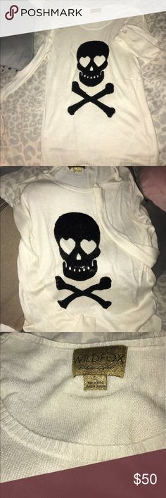 Wildfox Skull Sweater Very soft with sequenced skull! Wildfox Sweaters Crew & Scoop Necks