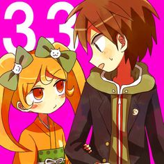 Hiyoko Saionji y Naegi Makoto Not accurate really. Considering hiyoko was taller than makoto by the time he entered Hope's peak but whatever.