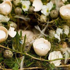 *eieren met waxine lichtjes