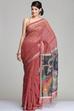 Maroon Matka Silk Saree With Beige Gheecha Stripes And Black Raw Silk Pallu With Colourful Peacock Jamdani Motifs