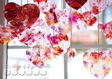 Faux stained glass recycled crayon hearts. Great Mobile idea.