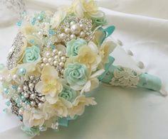 Tiffany Blue Bridal Brooch Bouquet, Ivory weding bouquet, Brooch Bouquet, $275.00