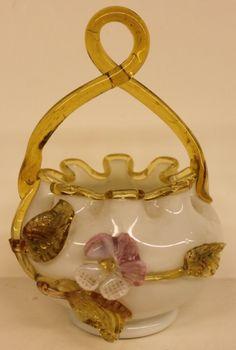 Stevens and Williams Art Glass | Stevens & Williams Victorian Art Glass Basket : Lot 92