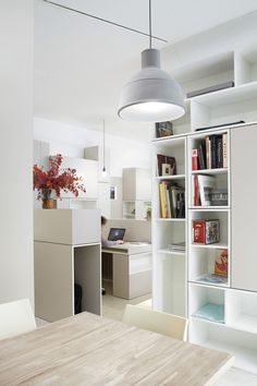 Office & Workspace:Hypernuit Offices Space Book Shelves Wood Table Modern Home Decorators Collection Chair Red Flower Vase Bench Laptop Floo...