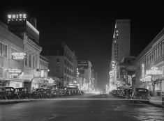 Downtown at night in 1942, Dallas