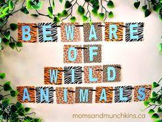 Safari Theme Banner + toy favors for kids, decor ideas & invitation ideas