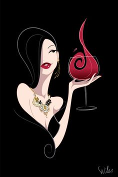 *Illustration by Chad Wiles - woman with wine vinos maximum taninotanino
