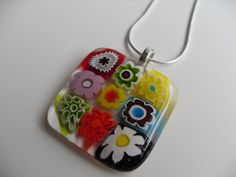 Millefiori glass fused flowered pendant by sherrylee16 on Etsy, $20.00