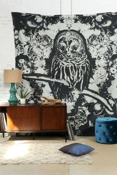Magical Thinking Dark Owl Tapestry