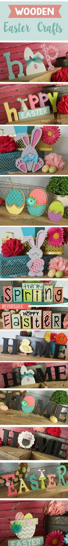 Wooden Easter Crafts.  So fun to make.  Bunny crafts, wooden letters, easter eggs, easter baskets...adorable!