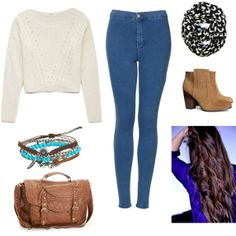 """""""Cute high-waisted jean & sweater outfit"""" by katrinakit on Polyvore"""