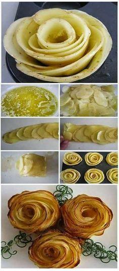 Kartoffeln schälen, in dünne Scheiben schneiden und in ein Gemisch aus Olivenöl, Salz und Pfeffern einlegen. Anschließend die einzelnen Kartoffelscheiben so in ein Muffinblech schlichten, dass die Form einer Rose entsteht. Das gefüllte Muffinblech für ca. 20 Minuten bei 180 °C (Heißluft) im Backofen goldgelb backen.