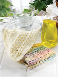 Knitted dishcloth pretty patterns