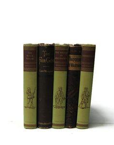 Green Brown Vintage Books   Decorative Books