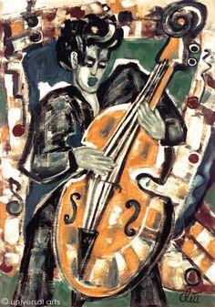 JACQUELINE DITT - Bass A4 Druck print n.Gemälde Bild Musik Kunst Bilder Giclee