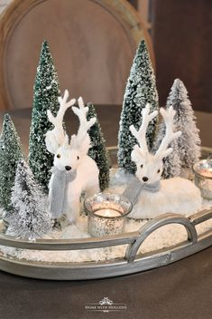 Tiny Winter White Christmas Centerpiece - Home with Holliday Silver Christmas Decorations, Christmas Wood, Christmas Centerpieces, Simple Christmas, White Christmas, Christmas Holidays, Christmas Crafts, Christmas Ornaments, Winter Wonderland Centerpieces