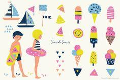 Beach Clip Art - Seaside Ice Cream - Illustrations - 1