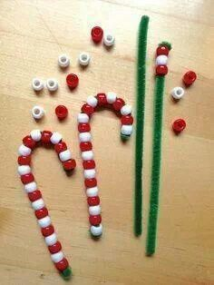 Candy canes. Pipe cleaners, beads. String beads on pipe cleaner