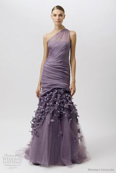 Would look awesome in the color blush,off white, tan. This modern mermaid purple wedding gown id designed by Monique Lhuillier: Purple Gowns, Purple Dress, Monique Lhuillier Dresses, Fashion Vestidos, Evening Dresses, Prom Dresses, Bridesmaid Dress, Bridesmaids, Formal Dresses