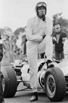 James Garner standing by his car while filming John Frankenheimer's racing drama Grand Prix at Brands Hatch, 1966 © Photo by Terry O'Neill