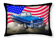 Throw Pillow 1957 Chevy Bel Air Convertible by KWJphotoart on Etsy