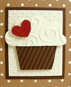 punch heart-sparkle tape on paper,. beard emboss folder, tiny dots emboss folder and crinkle brown card stock.