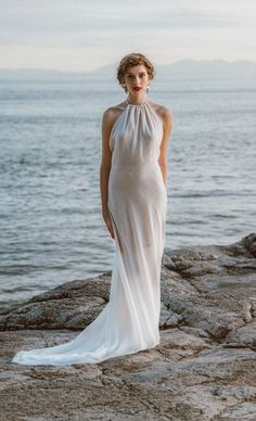 From etsy, a sheer boho luxe modern beach wedding dress backless sheath wedding dress from elika in love on etsy Glamour Hollywoodien, Hollywood Glamour Wedding, Blond, Different Wedding Dresses, Low Back Dresses, Long Dresses, Pretty Dresses, Beach Wedding Attire, Beautiful Wedding Gowns