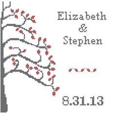 Wedding Tree Cross Stitch Pattern Grey by oneofakindbabydesign, $6.95