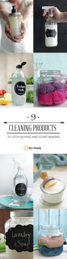9 super easy homemade cleaning products you can stop buying and start making! All-natural products from floor cleaning wipes to bathroom cleaner. So many easy and effective cleaning recipes.