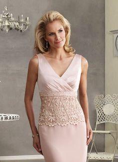 chic mother of bride dresses | ... Applique Column Ruffle Pink Satin Floor Length Mother Of Bride Dress