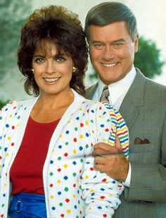 "Actor Larry Hagman John Ross , aka J.R., Ewing of ""Dallas"" & Tony of ""I Dream Of Genie,"" died at age 81.  pictured here as J.R. & wife Sue Ellen Ewing"